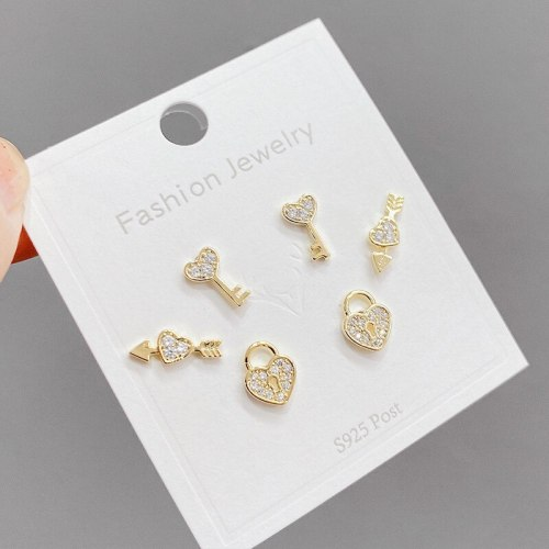 Korean Style Simple and Compact One Card Three Pairs Sterling Silver Needle Ear Studs Temperament Wild Delicate Ear Jewelry
