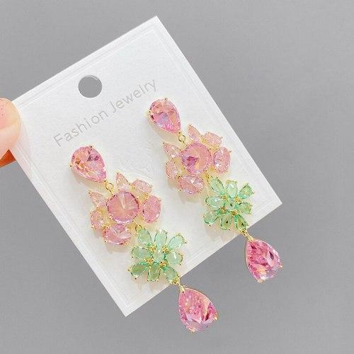 Sterling Silver Needle Fashion Heavy Industry High-Profile Earrings Petal Zircon Earrings Multicolored Tassel Eardrop Earring