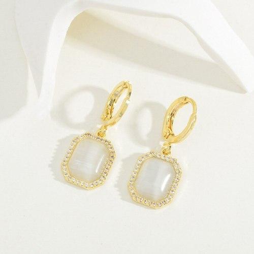 Korean Fashion Square Opal Ear Clip Female Niche Design Earrings Internet Celebrity Live Broadcast Earring