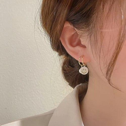 Smiley Pearl Sterling Silver Needle Pearl Earrings Girly Temperamental All-Match Online Influencer Ear Jewelry Earrings