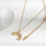 Sweet Temperament Titanium Steel Necklace Women's Fresh Rainbow Necklace Shell Cloud Pendant Fairy Clavicle Chain