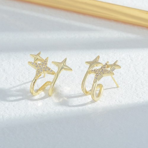 Sterling Silver Needle High-Grade French Style Four Eight-Pointed Stars Earrings Female Temperament Trendy Earrings Wholesale