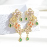 Heavy Industry Colorful Petals New Earrings Cold Style Elegant Colorful Zircon Earrings Sterling Silver Needle Flower Earrings