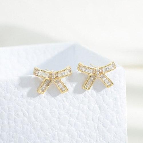 Sterling Silver Needle Zircon Bow Stud Earrings Female Earrings 2021 New Light Luxury Temperament Earrings Jewelry