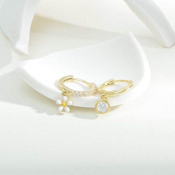 New Style Earrings Set Light Luxury Temperament Zircon Micro-Inlaid Ear Ring Ear Clip Dinosaur Petal Five-Pointed Star Ear Clip