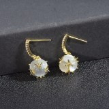 Sterling Silver Needle French Style Temperament Opal Ball Pendant Earrings Female Minority Simple Indifference Trend Earrings