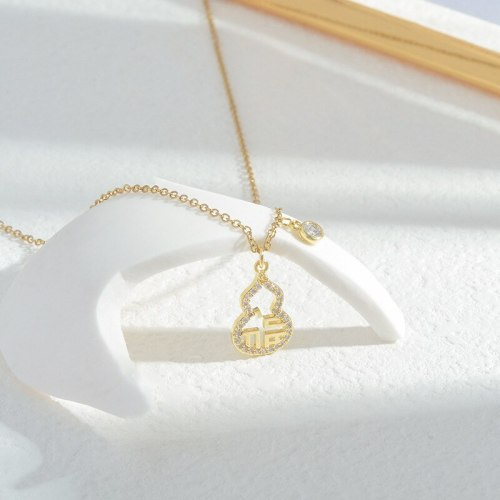 Fu Character Gourd Necklace Female Micro Inlaid Zircon Exquisite Light Luxury Clavicle Chain Fashionable All Match Jewelry