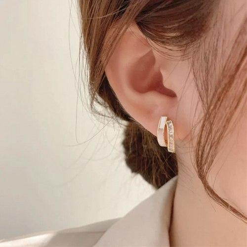 Double-Layer Stud Earrings for Women Summer Simplicity Korean Earrings S925 Auricular Needle High-Grade Earrings Earrings
