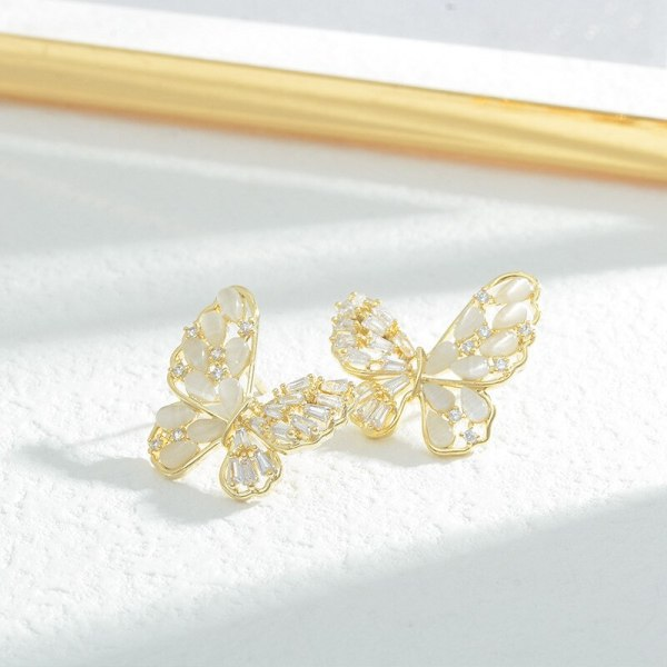 Sterling Silver Needle Hollow Zircon Butterfly Studs Exaggerated Exquisite Design Sense Earrings All-Match Earrings