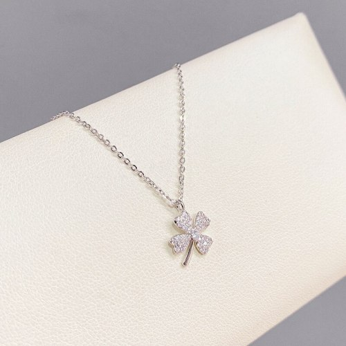 Korean Fashion Micro Inlaid Zircon Lucky Four-Leaf Clover Necklace Female Clavicle Chain Fashion Necklace Fashion