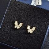 Sterling Silver Needle Butterfly Fritillary Stud Earrings Super Fairy Ins Niche Design Earrings Ornament