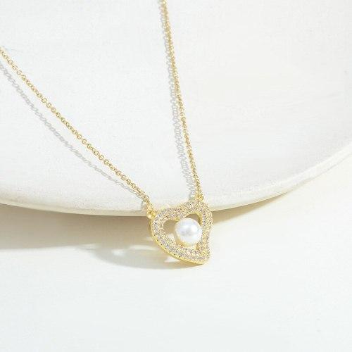 Korean Fashion Micro Inlaid Zircon Peach Heart Pearl Necklace Women's Exquisite Light Luxury Design Sense Clavicle Chain Jewelry