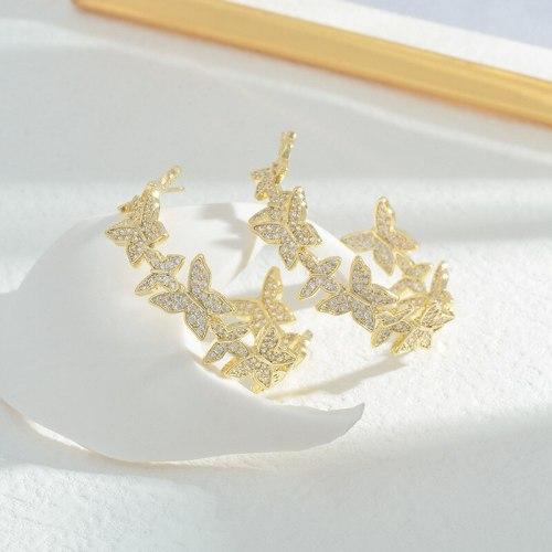 Sterling Silver Needle Micro Inlaid Zircon Full Diamond Butterfly Studs Women's Niche Design Light Luxury Earrings Earrings