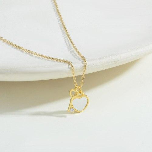 New Shell Peach Heart Key Necklace Female Niche Design Titanium Steel Clavicle Chain Personality Fashion Necklace Fashion