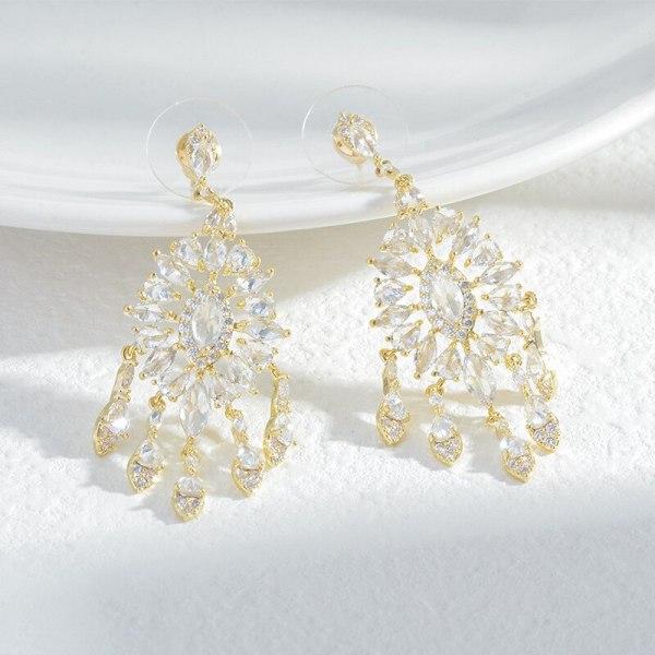 Sterling Silver Needle French Retro Earrings Women's Super Fairy Earrings Heavy Industry Zircon Super Flash Earrings
