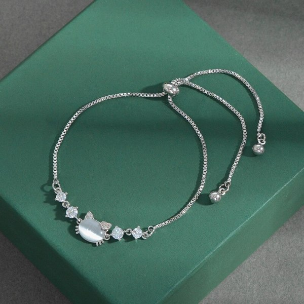 New Opal Cat Pull Bracelet Female Niche Design Light Luxury Adjustable Bracelet Ornament Wholesale