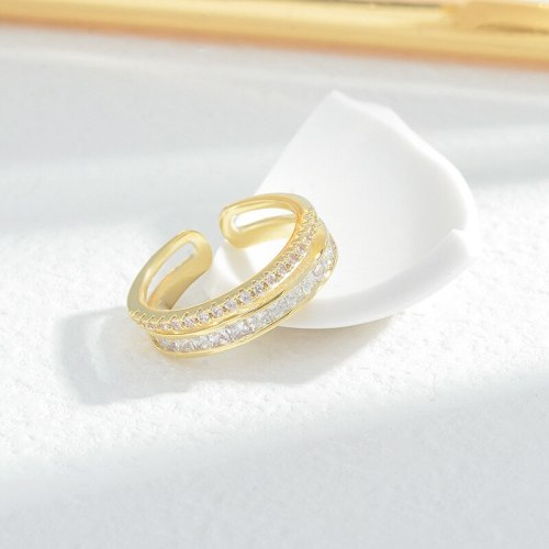 High-End Light Luxury Ring Cold Style Special-Interest Design Simple and Stylish Personality Ins Trendy Zircon Super Flash Open
