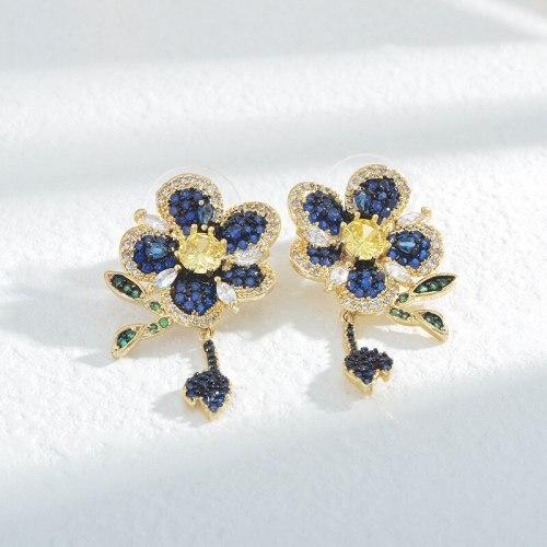 Korean-Style Micro-Inlaid Colorful Zircon Flexible Leaves Elegant Earrings Sterling Silver Needle Three-Dimensional Earrings