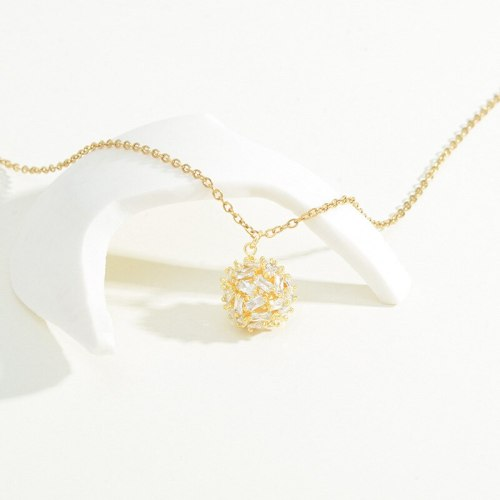 New Micro Inlaid Zircon Ball Necklace Female Special-Interest Design High Sense Clavicle Chain Jewelry