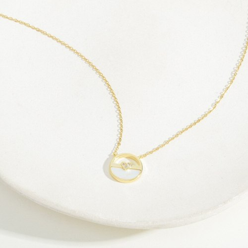 Peach Heart Necklace Special Interest Light Luxury Simple Student Mori Style Fresh Internet Celebrity Clavicle Chain Jewelry