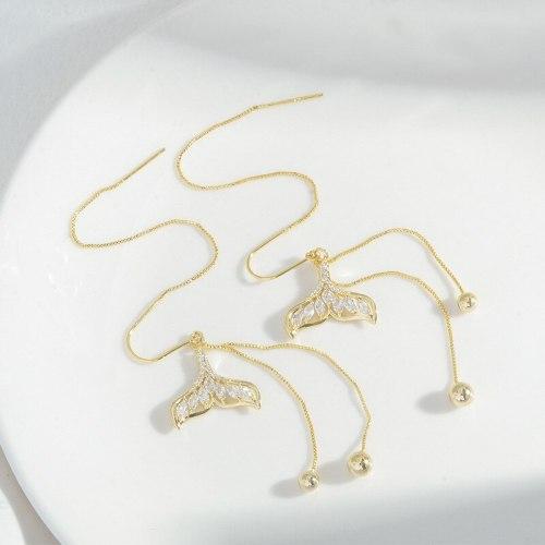 New Micro Inlaid Zircon Fishtail Earrings Female Sterling Silver Needle Super Fairy Tassel Earrings Korean Fashion Earrings