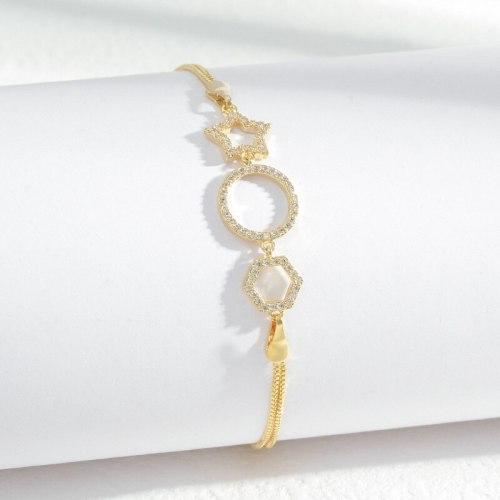 Korean Fashion Micro Inlaid Zircon Five-Pointed Star Bracelet Female Niche Design Exquisite Light Luxury Jewelry Wholesale