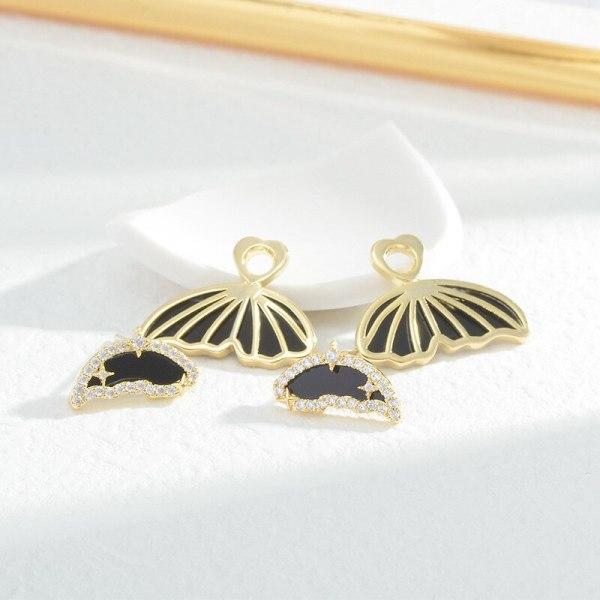 Micro Inlaid Zircon Butterfly Wings Oil Stud Earrings Sterling Silver Needle Temperamental Three-Dimensional Butterfly Earrings