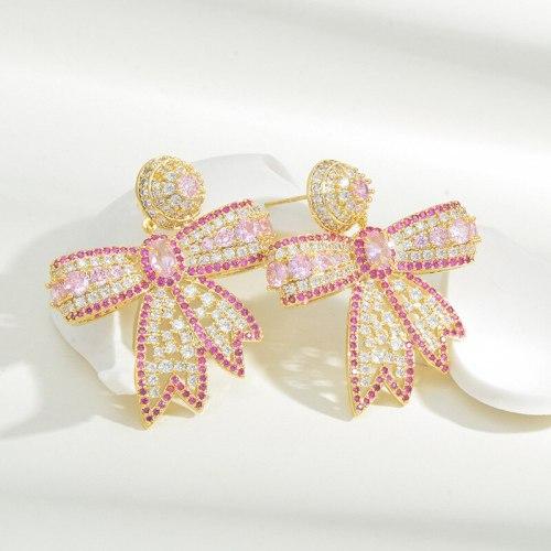 Fashion Special-Interest Stud Earrings Female Sterling Silver Needle Luxury Color Zirconium Design Bow Earrings Eardrops