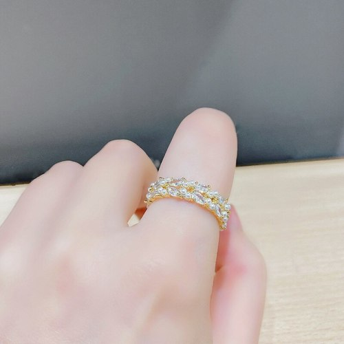 Micro-Inlaid Zircon Ring Women's Japanese-Style Korean-Style Trending Girl Ring Special-Interest Design Index Finger Ring