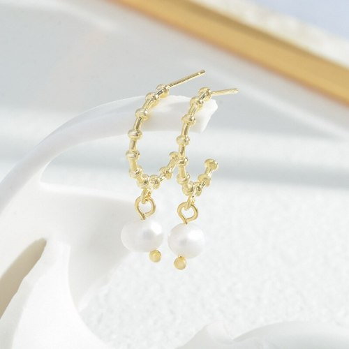 Copper Plated Real Gold One Card Three Pairs Set Stud Earrings Female Sterling Silver Needle Pearl Earrings Wholesale