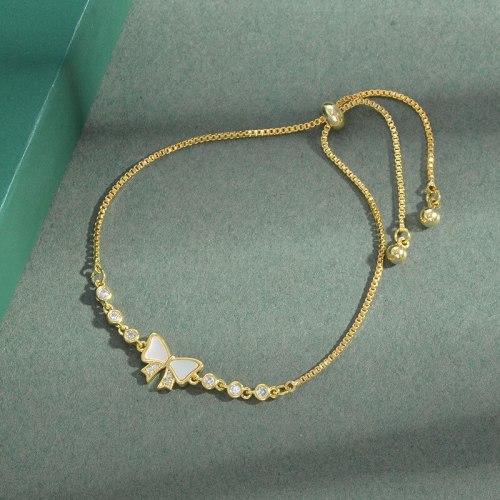 Korean Style Fashion Bowknot Shell Pull Bracelet Women's Adjustable Exquisite Light Luxury High-Grade Bracelet Ornament