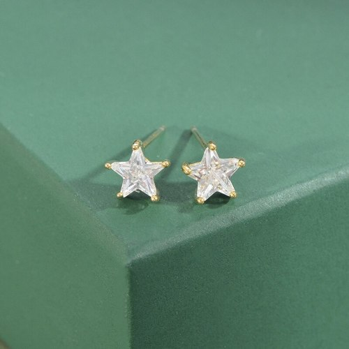 Sterling Silver Needle Fashion Girl Three Piece Set Combination Ear Studs One Card Three Pairs Five-Pointed Star Earrings