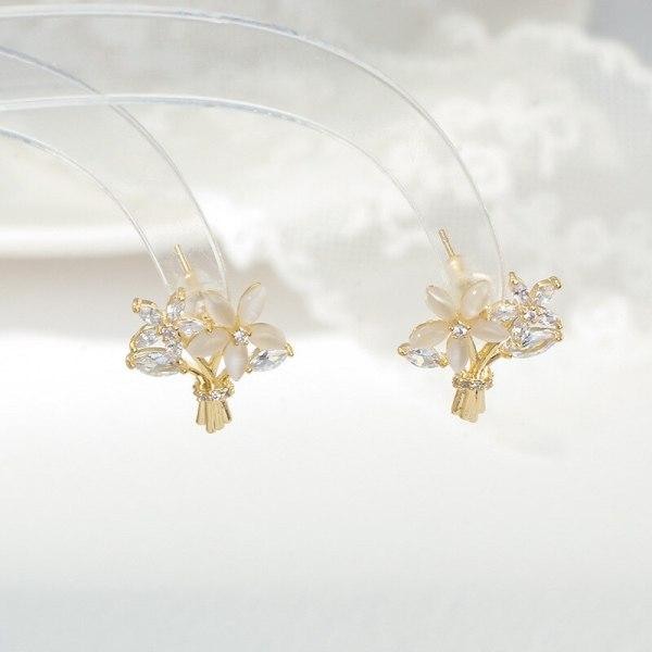 Korean Petals Opal Earrings Women's Temperament Wild Small Fashion Temperament Sterling Silver Needle Stud Earrings