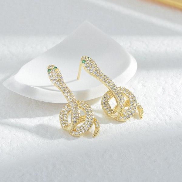 Sterling Silver Needle Snake-Shaped Earrings New Fashion Micro Inlaid Zircon over Diamond Mesh Red Earrings Female Earrings