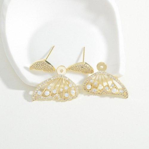 925 Silver Stud Earrings Women's Simple Single-Wing Butterfly Earrings Hollow Shiny Wings Ear Bone Stud Earring Ornament