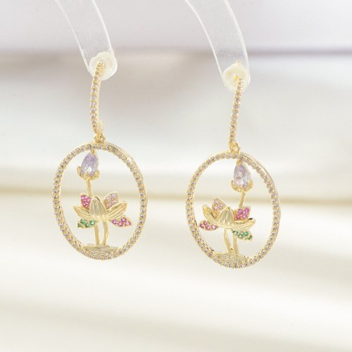 Sterling Silver Needle Petal Stud Earrings Women's Heavy Industry Lotus Earrings Micro-Inlaid Colorful Zircon Earrings
