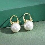 Copper Plated Real Gold Pearl Ear Clip Female Earrings High-Grade Light Luxury Earring Ornament Wholesale