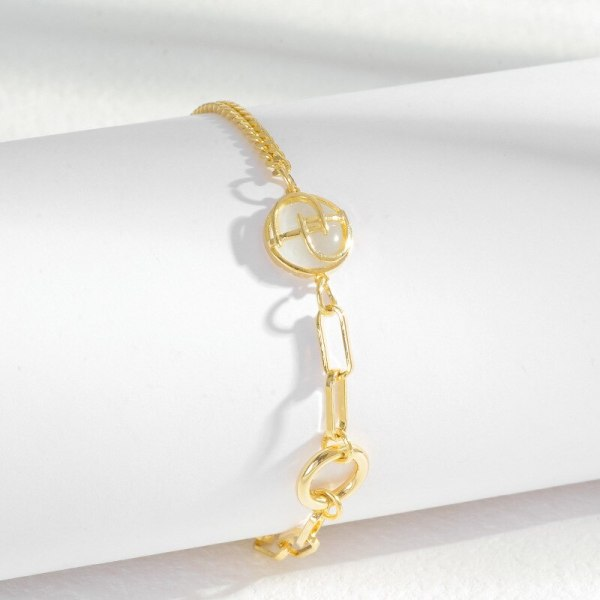 Cross-Border Goods Hot Sale Copper Plated Real Gold Hand Pull Female European and American Fashion Chain Letters Jewelry