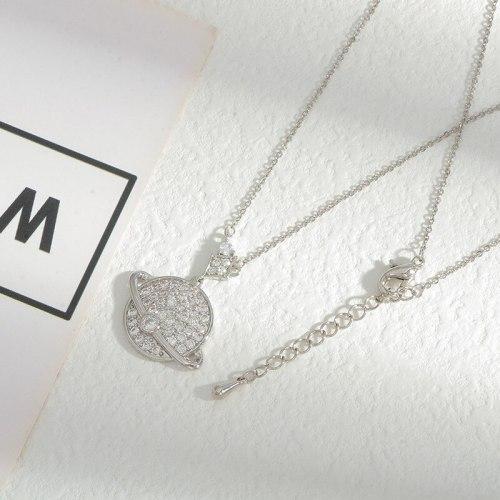 Korean Fashion Micro Inlaid Zircon Planet Necklace Female Light Luxury Minority Temperament Clavicle Chain Personality Ornament
