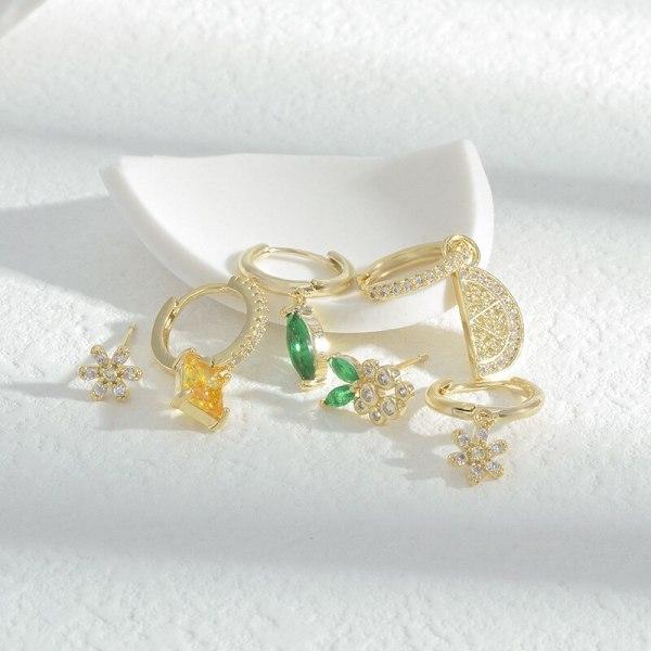Micro-Inlaid Colorful Zircon Fruit One Card Three Pairs Set Ear Clip Korean Fashion High Sense Earrings Cross-Border Ear Rings