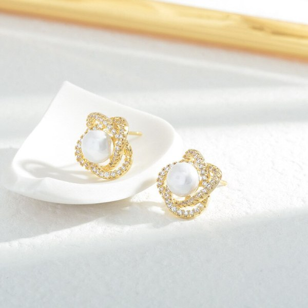 Sterling Silver Needle Micro Inlaid Zircon Petal Pearl Stud Earrings Female Korean Fashion Design Earrings
