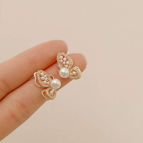 Korean Earrings Style Sterling Silver Needle Butterfly Studs Female Temperament Personalized Pearl Earrings