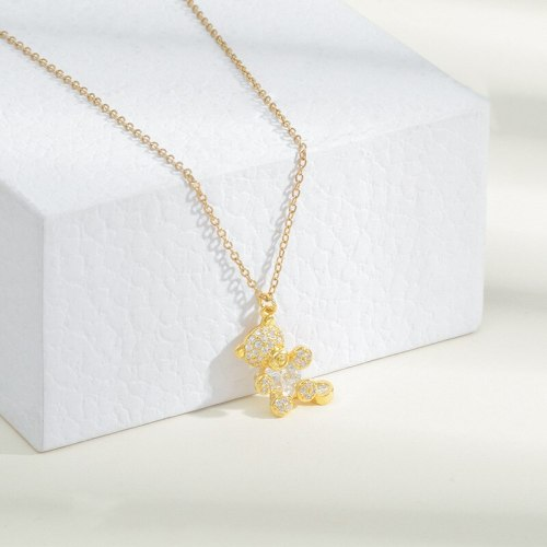 INS Style Bear Necklace Female Plated 14K Gold Micro Inlaid Zircon Simple Niche Design Clavicle Chain Jewelry Wholesale