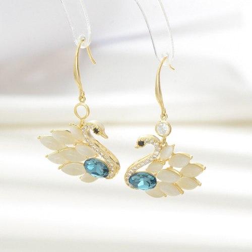 Korean Zircon Opal Little Swan Stud Earrings Female Special-Interest Design Sterling Silver Needle Light Luxury Earrings