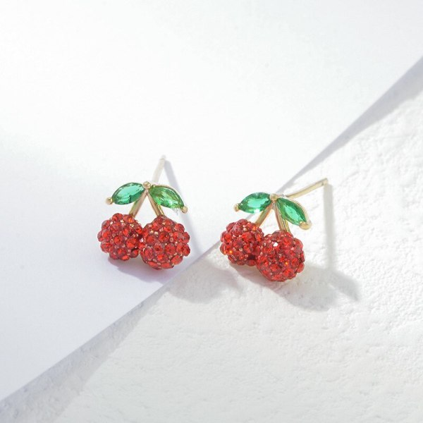 Sterling Silver Needle Fashion Girl Three Piece Set Combination Ear Studs One Card Three Pairs Cherry Simple Ear Jewelry