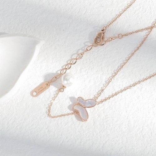 Korean Fashion Zircon Tassel Clavicle Chain Female Niche Design Light Luxury Shell Butterfly Necklace Ornament Wholesale