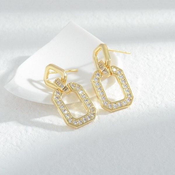 Korean Fashion Micro Inlaid Zircon Geometric Ear Studs Women's Exquisite Light Luxury High-Grade Earrings Sterling