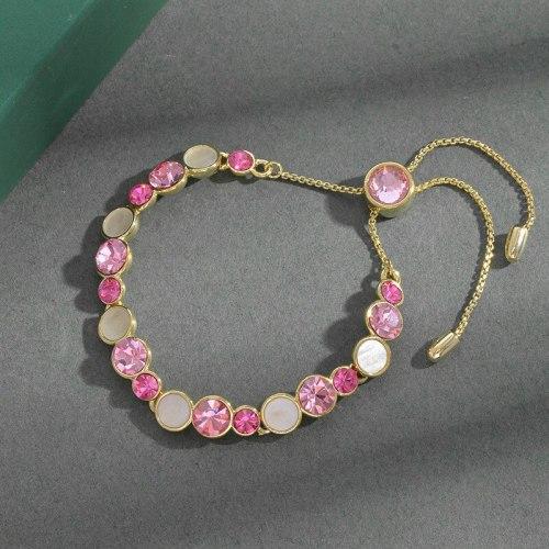 Korean Style Fashion Micro Inlay Shell Pink Zircon Pull Bracelet Women's High-Grade Exquisite Light Luxury Bracelet