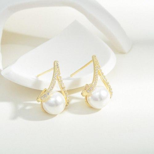 Korean Pearl Earrings Ins Simple Retro Europe and America Earrings 925 Silver Needle Design Sense French Ear Studs Women