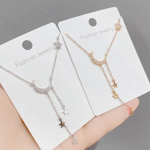 Simple Star and Moon Necklace Niche Design Ins Style Clavicle Chain Five-Pointed Star Affordable Luxury Style Pendant Necklace